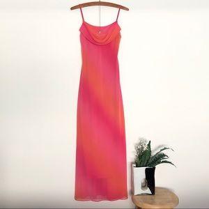 Vintage 90s/y2k chiffon cowl neck maxi dress